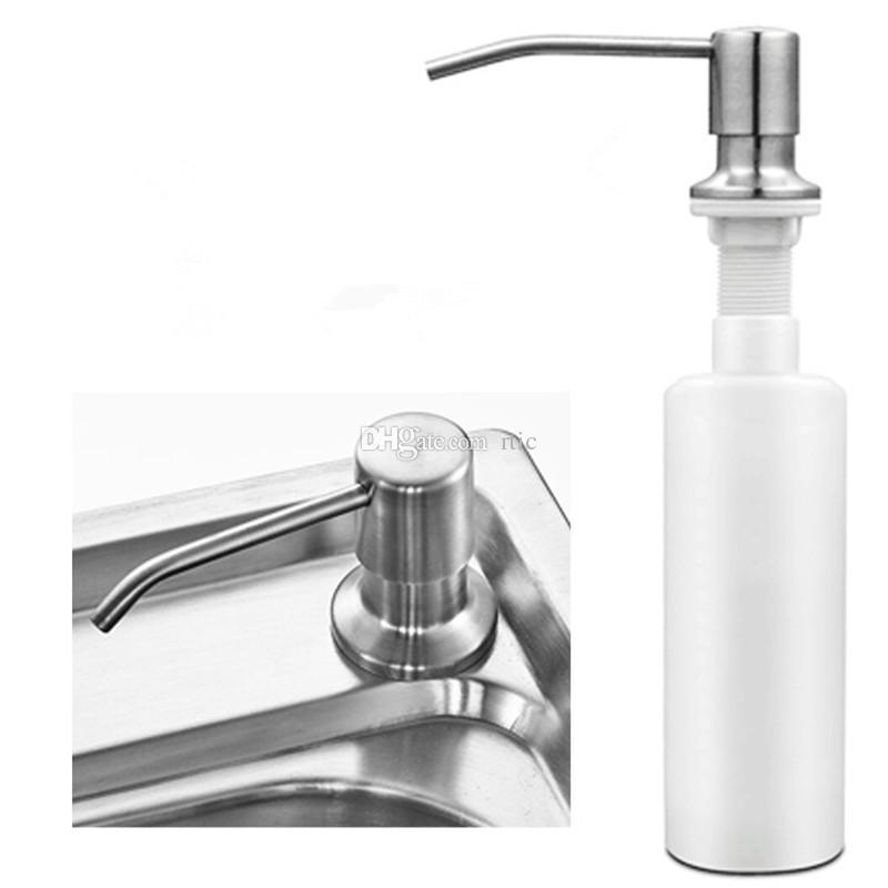 Kitchen Soap Dispenser Bathroom Detergent Dispenser for Liquid Soap Lotion Stainless Steel Head + ABS Bottle
