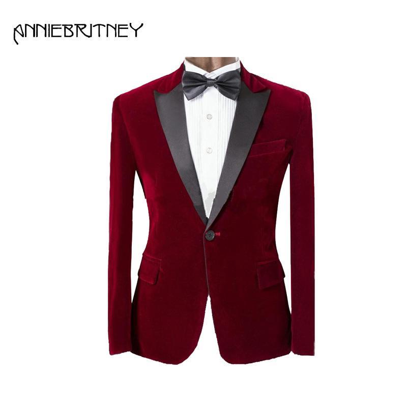 Compre Trajes De Hombres De Color Rojo Vino Para Trajes De Boda Para Hombres  Blazer Chaqueta Slim Fit Novio Smoking Negro De Solapa Traje Atractivo Prom  2 ... f5d9eb0bae5