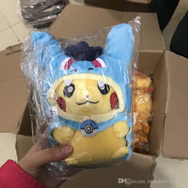 25cm Cosplay Plush Dolls Toys Children Pikachu Charizard Slowpoke Magikarp Plush Dolls Toy Cloak Pikachu Free Fhipping