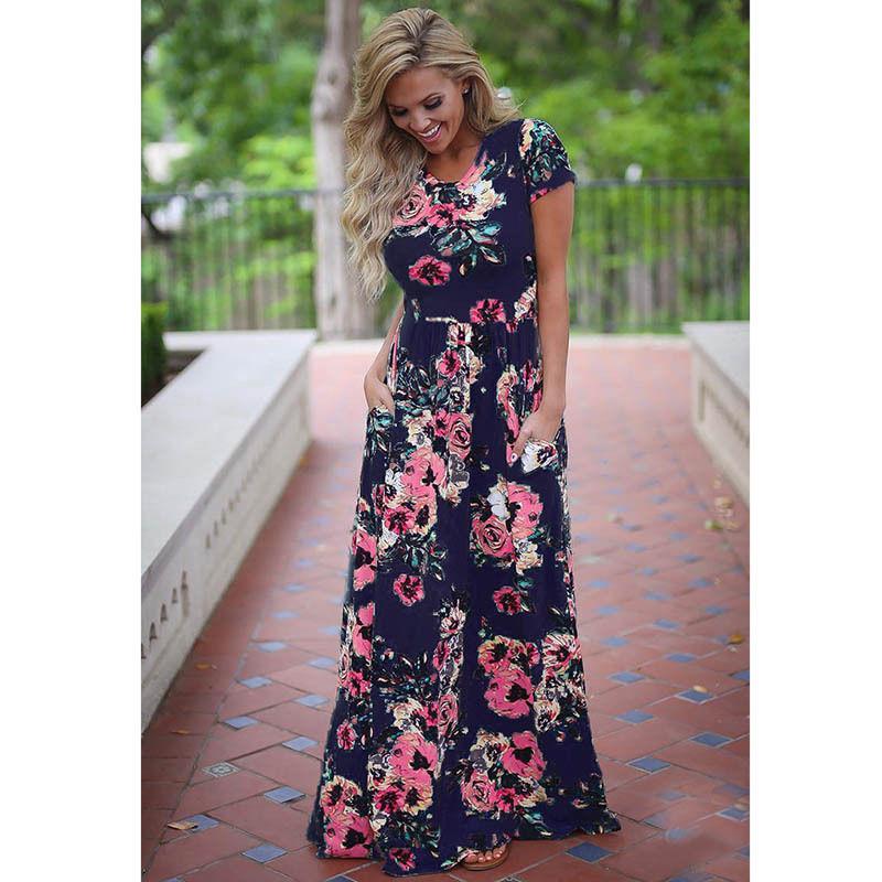 94fe8d32aee Acheter Nouveau 2018 Été Automne Femmes Vêtements Robe Robes À Manches  Courtes Imprimé Floral Grande Taille Robe Longue Plus La Taille 2XL 3XL  Vestidos De ...