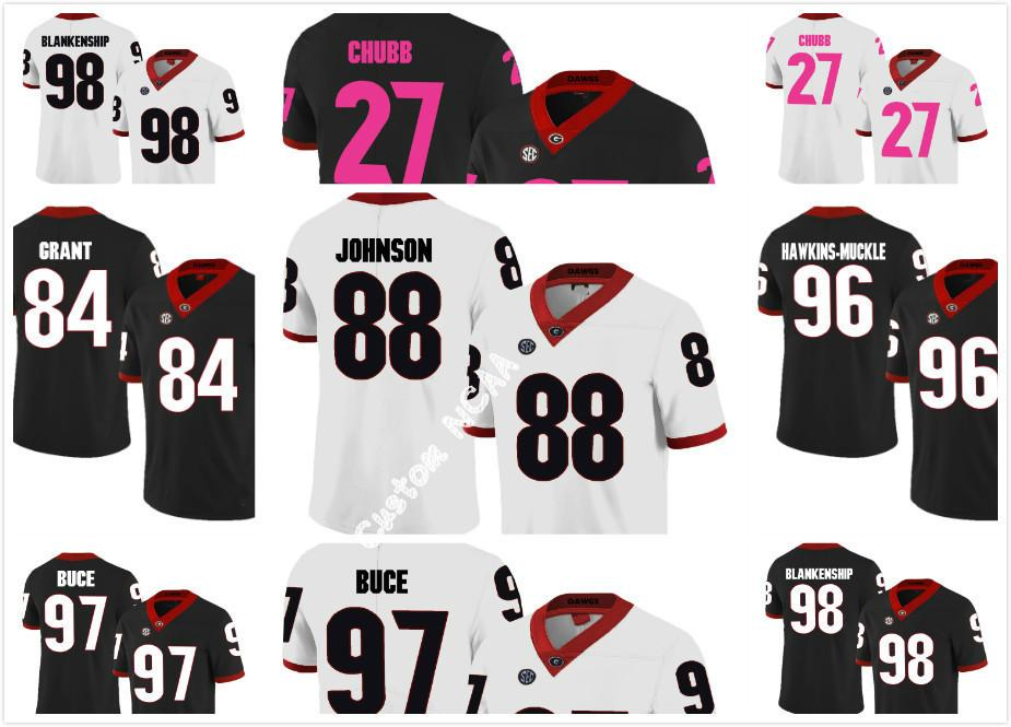 743ba8c44 Custom NCAA Georgia Bulldogs 84 Walter Grant 88 Toby Johnson 96 ...