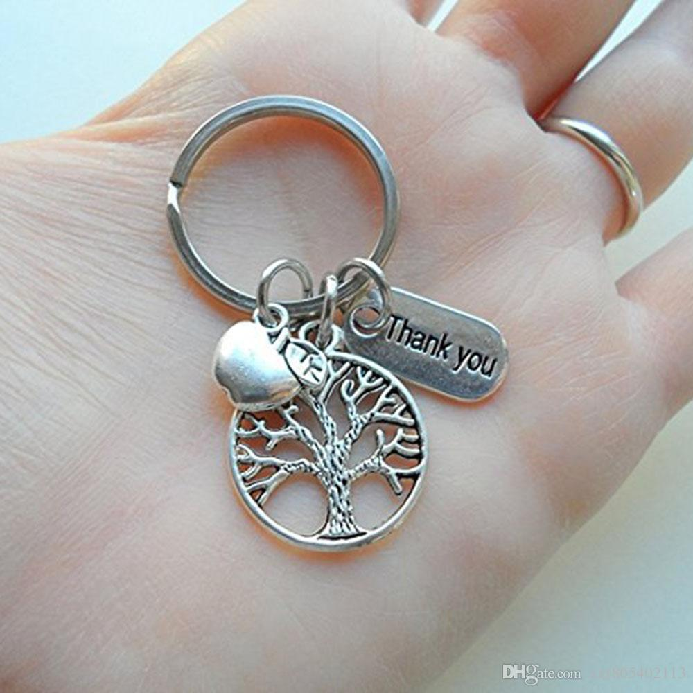 wholesale Thank you key chain life tree apple charm pendant key ring for teacher jewelry gift
