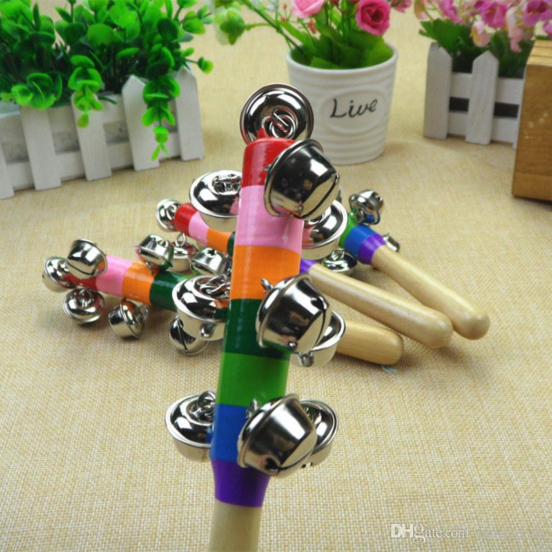 New Arrival Rainbow Baby Rattle With 10 Bells Wooden Handle Bright Color Ring Ring Sound Toy for little baby Great Christmas Gift DHL Free