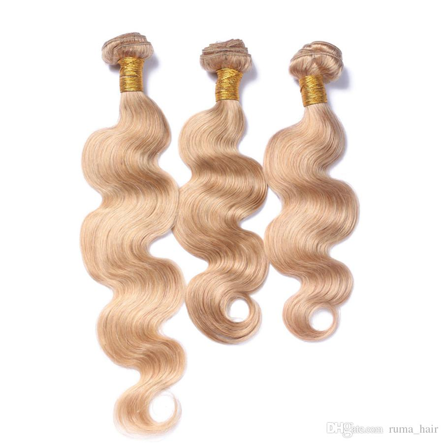 #27 Honey Blonde Body Wave Human Virgin Hair Weaves Brazilian 3 Bundles Hair For Black Women Cosplay Hair Pure Color Weft