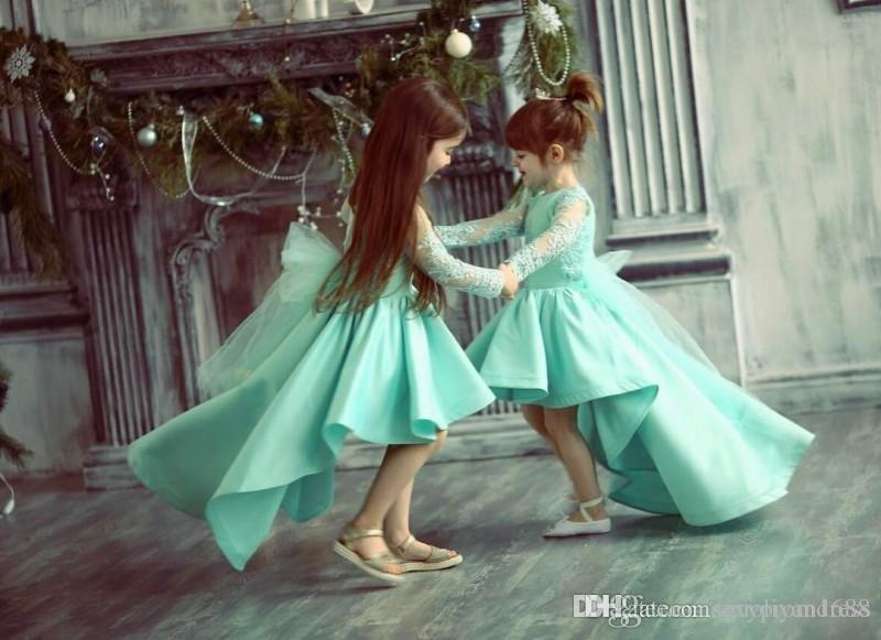 Turchese Alto Basso ragazze Pageant abiti Appliques del merletto Sheer maniche lunghe Abiti da sposa il vestito da festa nuziale di compleanno del bambino