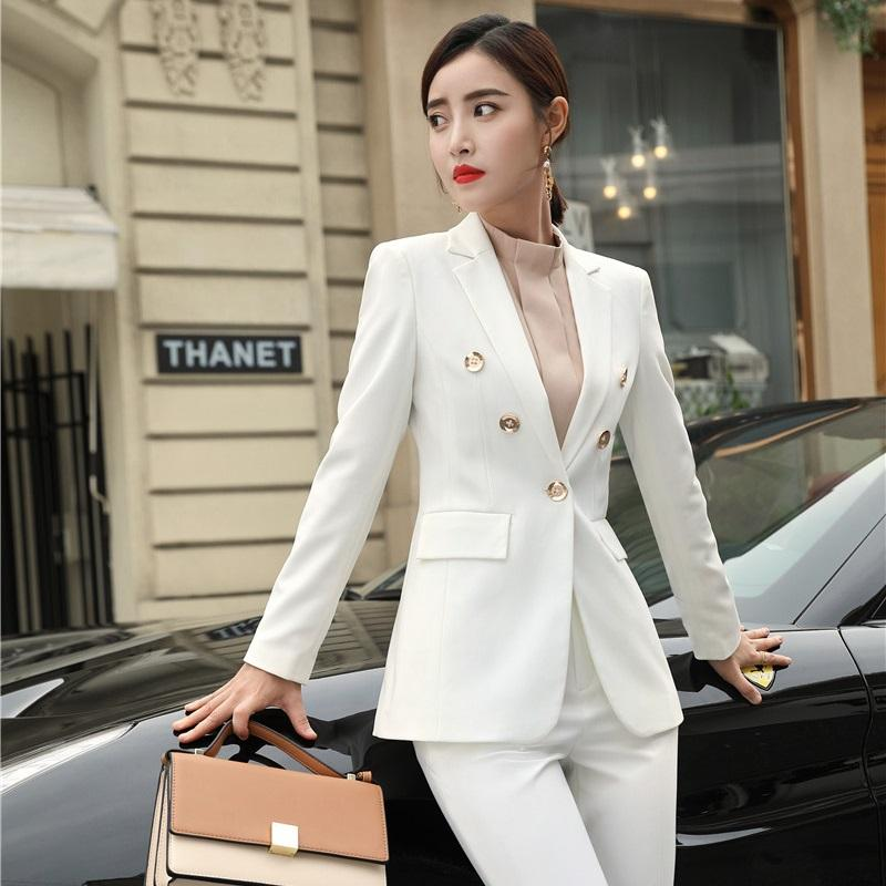 59f472ec679 2019 New 2019 Fashion Formal Women Blazers And Jackets White Coat Ladies  Business Work Wear Female Clothes OL Styles From Beenling