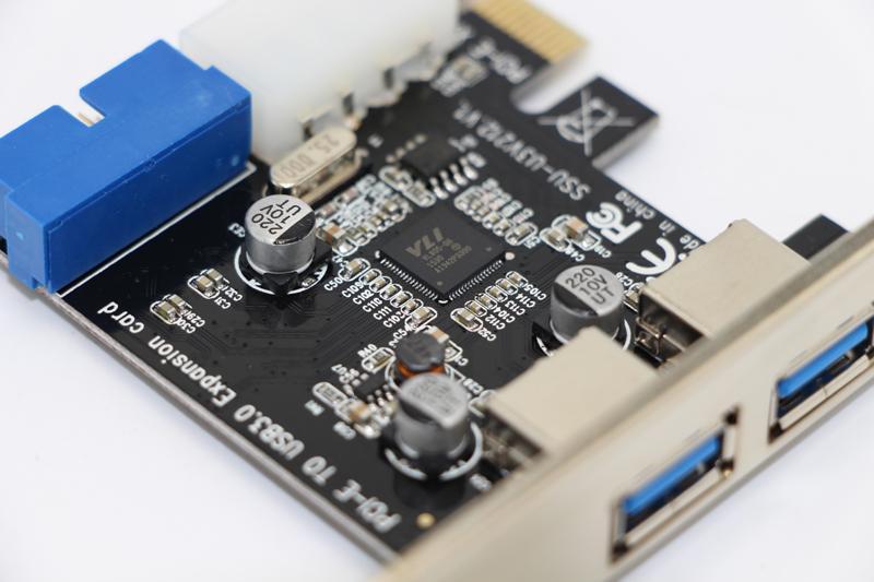Nuevo adaptador de tarjeta de expansión USB 3.I-E External 2 puertos USB3.0 Hub Internal 19pin Header PCI-E Card 4pin IDE Power Connector