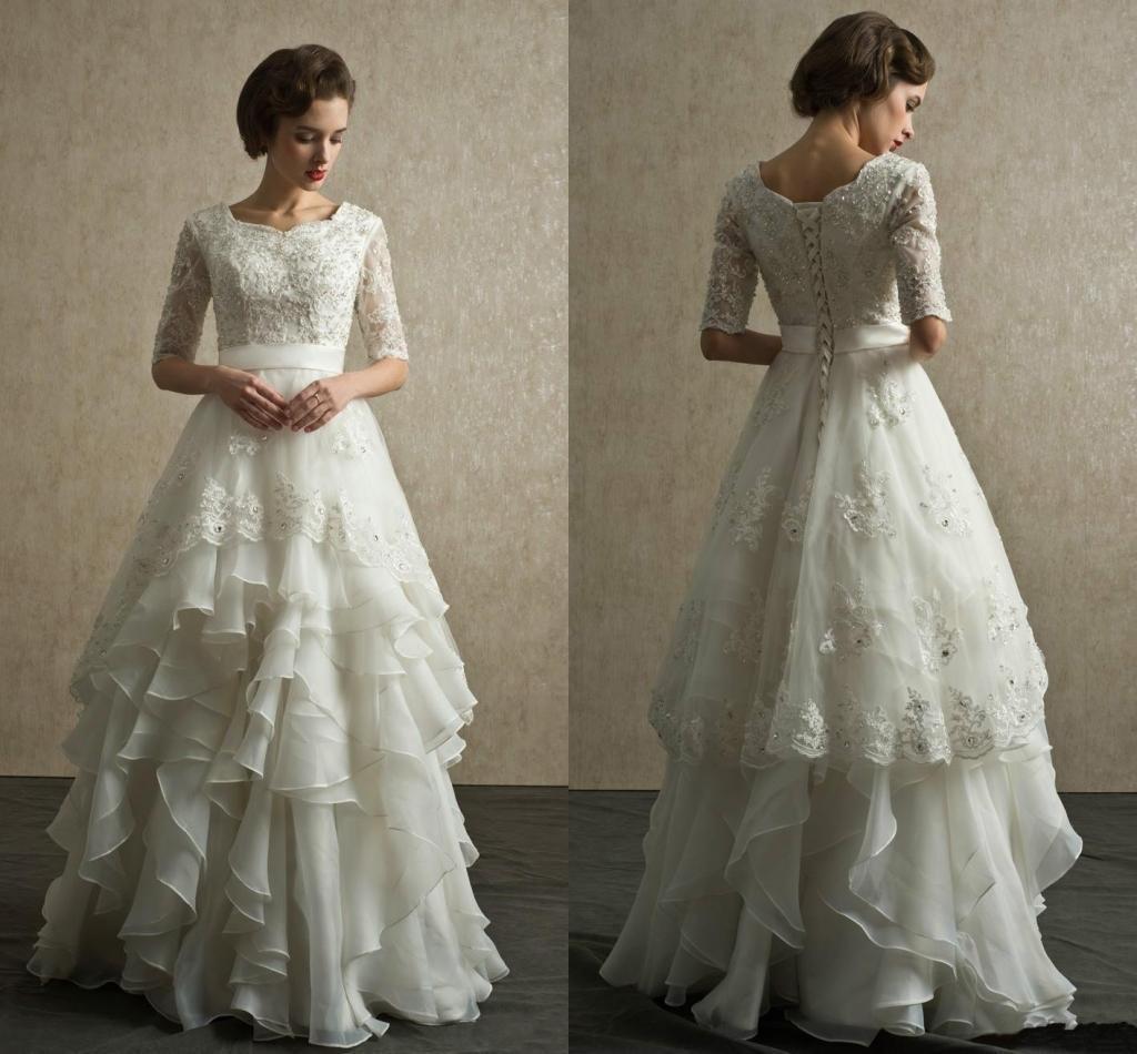 Discount Custom Made Vintage Wedding Dresses 2019 Half Sleeves