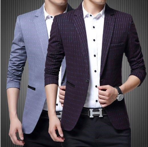 Compre Hombres Slim Fit Blazer Fancy Blazers Para Hombres Trajes De  Escenario Para Cantantes Prom Blazers Hombres Traje De Chaqueta A Rayas  Púrpura Azul A ... bff4f9d6056