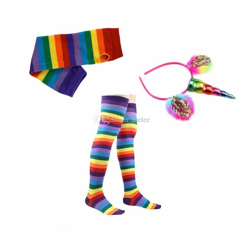 INS kids Rainbow Tutu Suit Party Princess Dance Dress with Unicorn Horn Headband leggings socks leggings gloves Set Kids Birthday Photo Prop