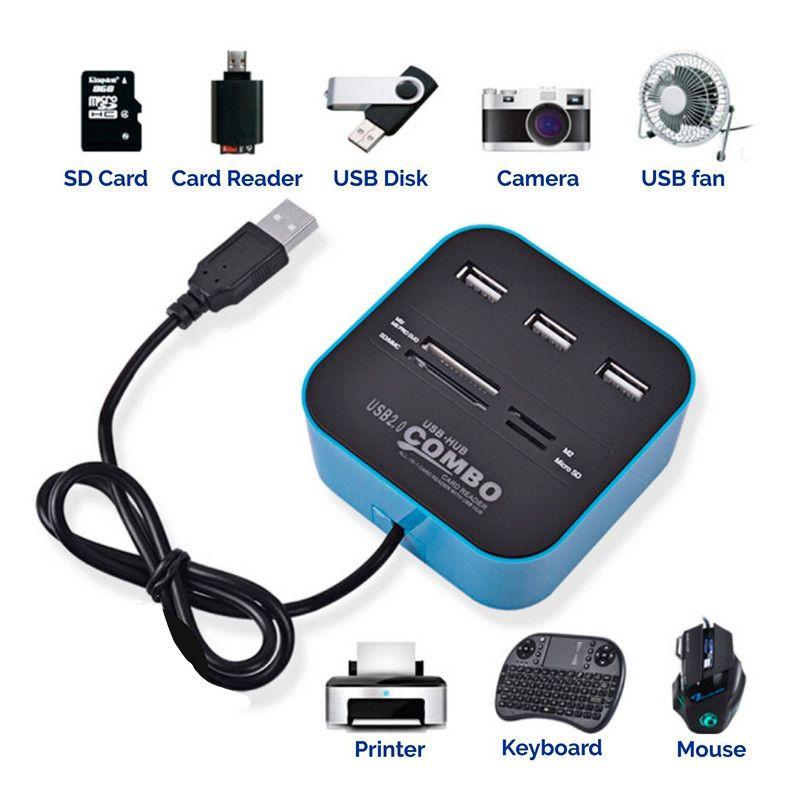 Micro USB Hub 2.0 3 porte + TF Card Reader Slot USB ad alta velocità Combo All in One Splitter USB l'utilizzo desktop del laptop