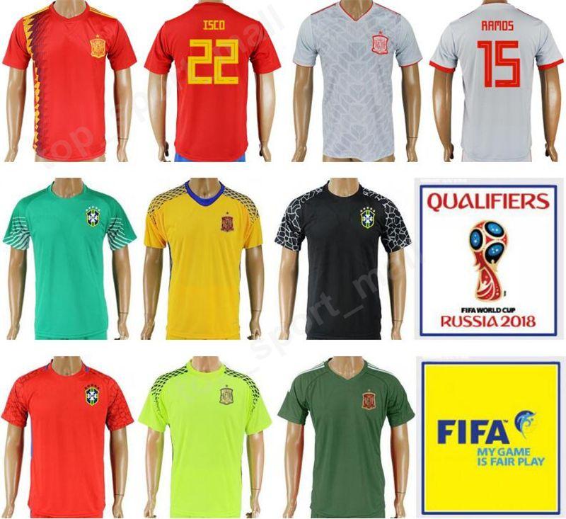 506cbcd91e6 2019 2018 World Cup Soccer Jersey Spain 22 ISCO Football Shirt Kits Red  Gray Road 20 ASENSIO 10 FABREGAS 21 SILVA 6 A INIESTA Goalkeeper 1 DE GEA  From ...