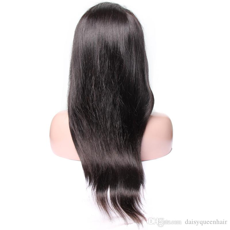 Human Hair Wigs With Baby Hair Brazilian Virgin Straight Lace Front Wigs For Women 8A Unprocessed Remy Hair Wigs Pre Plucked Bleached Knots