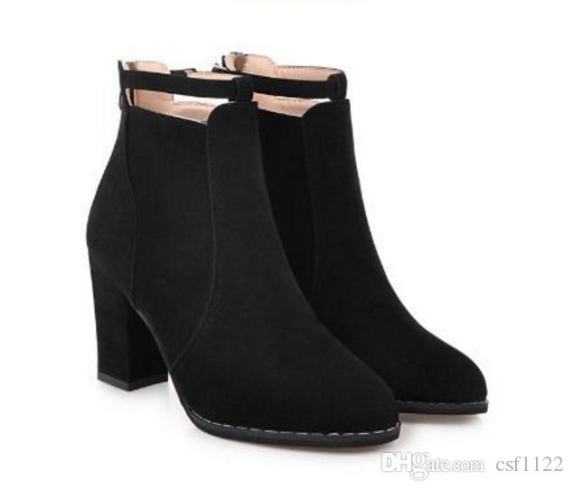 New autumn and winter high heel boots women Europe and the United States word deduction Martin boots with round head comfortable boots
