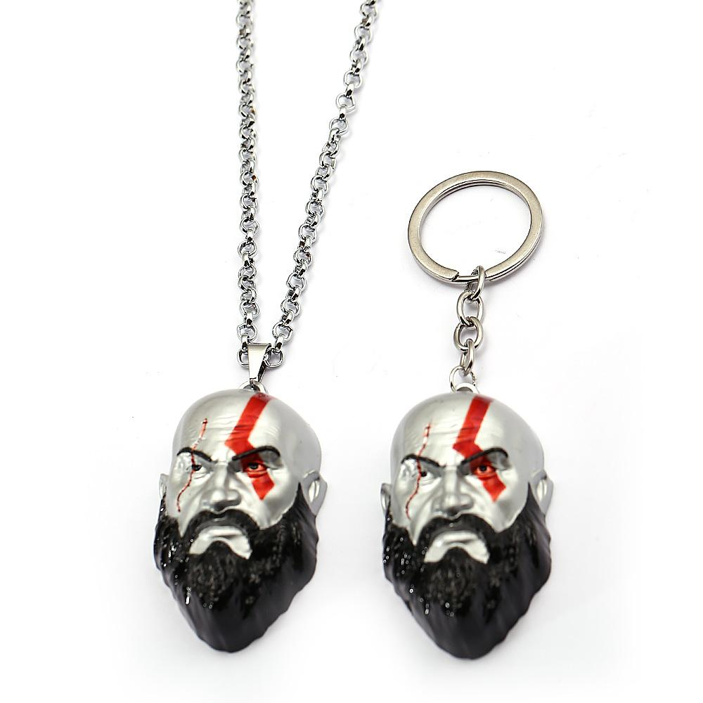 Game God Of War 4 Keychain Olympus Kratos 3D Mask Key Chain Car Bag Figures Chaveiro feminino Father's Day Gifts 12994