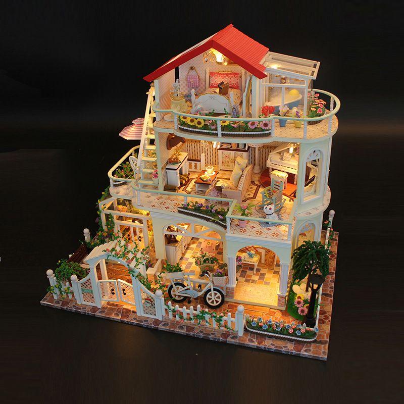 13845 Miniature Doll House Villa Model Building Kits Wooden