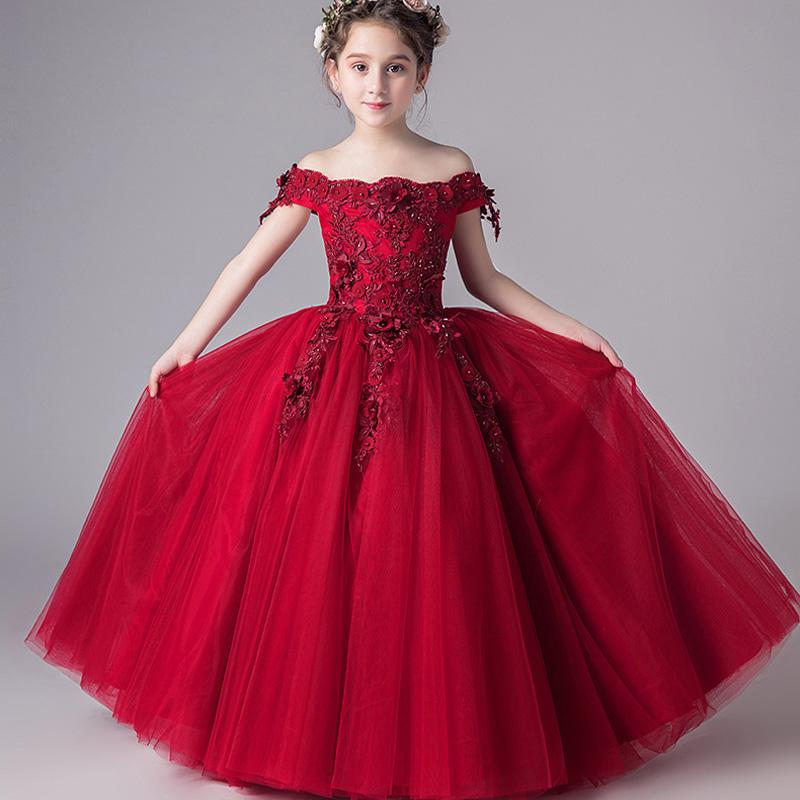 4205f21f6880 Lovely White Princess Flower Girl's Dresses Lace Long Sleeves Sheer Crew  Neck Button Back Formal Baby Girl Cute Kids Formal Wear for Wedding