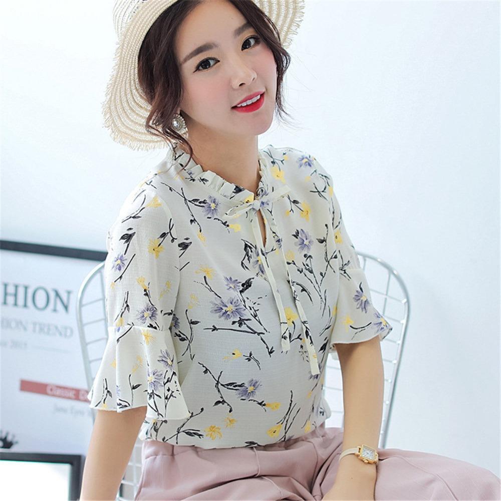 392ac09175 Compre Moda Coreana Estampado Floral Blusa De Gasa De Las Mujeres Camisa  Del Arco Verano Señoras De La Oficina Superior Media Manga De La Llamarada  Más ...