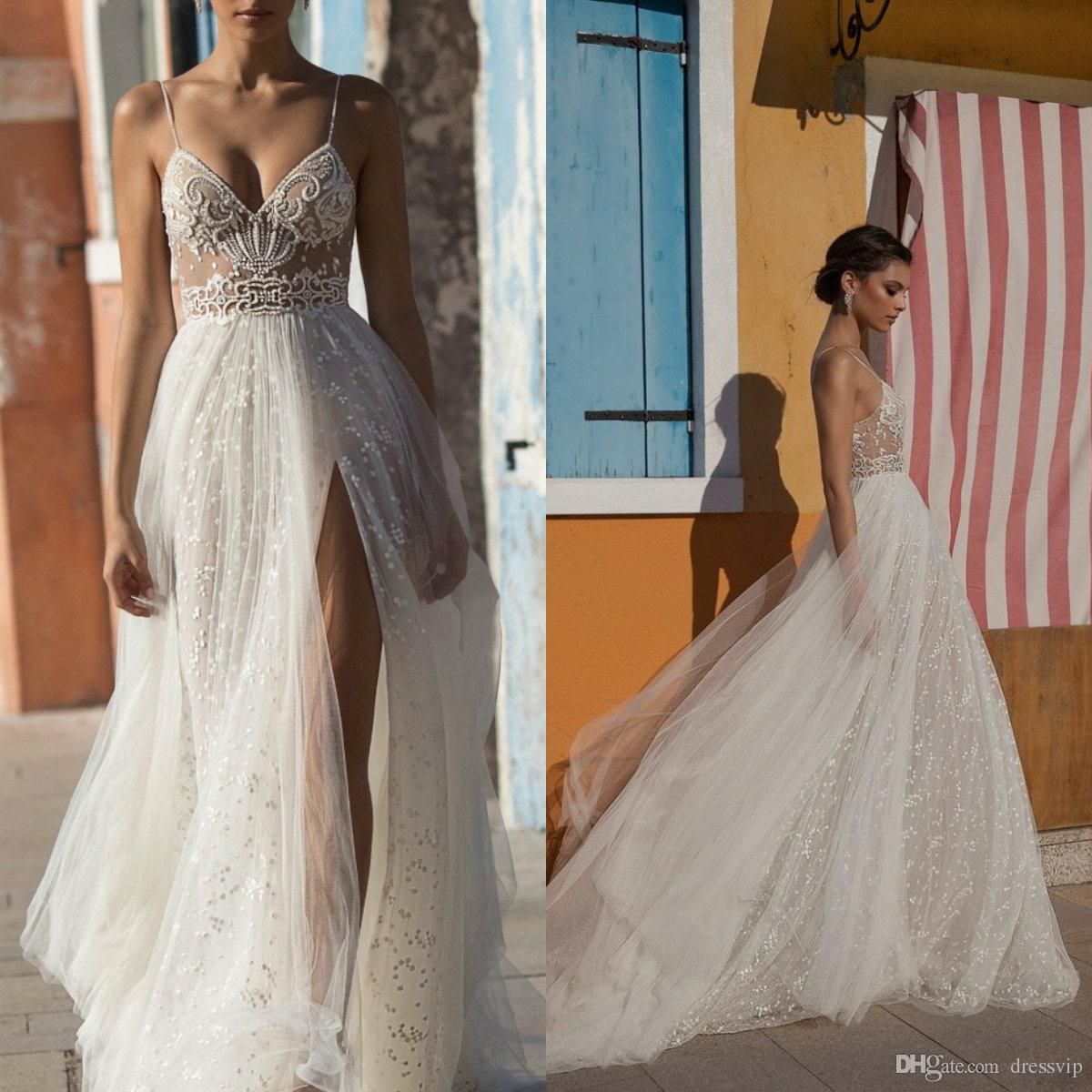 Discount 2018 Gali Karten Beach Wedding Dresses Side Split Spaghetti  Illusion Sexy Boho Wedding Gowns Sweep Train Pearls Backless Bohemian Bride  Princess ... b4f9175f17f5
