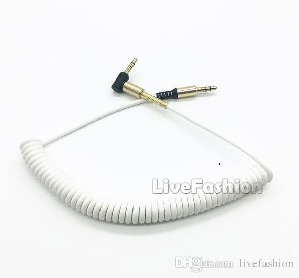 Spring Stereo Elbow Audio Cable Right Angle 3.5mm Male Line In Car Aux Speaker Extensions Cable For Iphone Computer MP4