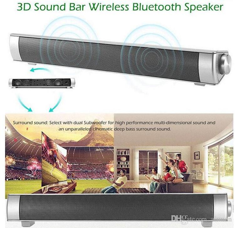 LP-08 3D Sound Bar Wireless Bluetooth Speaker With Double 5W Bass Surround Sound Speaker Support TF Card Calls Function DHL Free