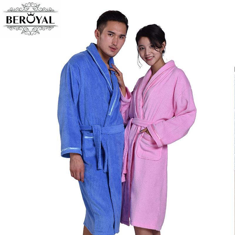 8904c406c7 Beroyal Brand Bathrobe 100% Cotton Bath Robe Unisex Solid Dressing Gown Spa  Bathrobe Pajamas Thick Long Nightgown Sleepwear Towel Hand Towels Online ...