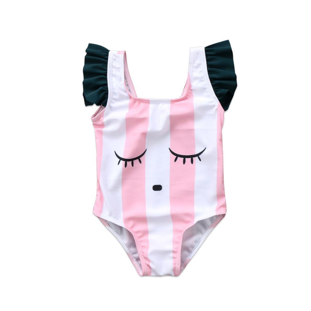 13cddbf3ee08 Acquista 2018 Dolce Neonati Neonati Senza Maniche Carino A Strisce Costume  Da Bagno Cartoon Stripe Costumi Da Bagno Tuta Tuta Abbigliamento Da Mare A  $33.36 ...