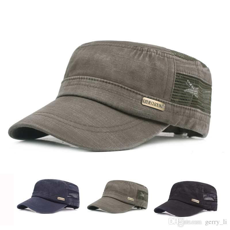 b6880309745 2019 Adult Unisex Chapeau Adjustable Cadet Style Cotton With Mesh Flat Top  Military Cap Army Hats Men Women Summer Military Hats From Gerry li
