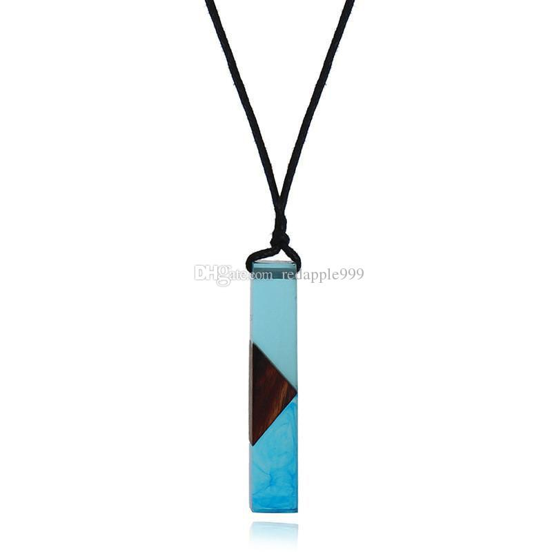 New Leather Rope Chain Long Necklace Handmade Vintage Resin Wood Bar Pendant Necklace For Women Men