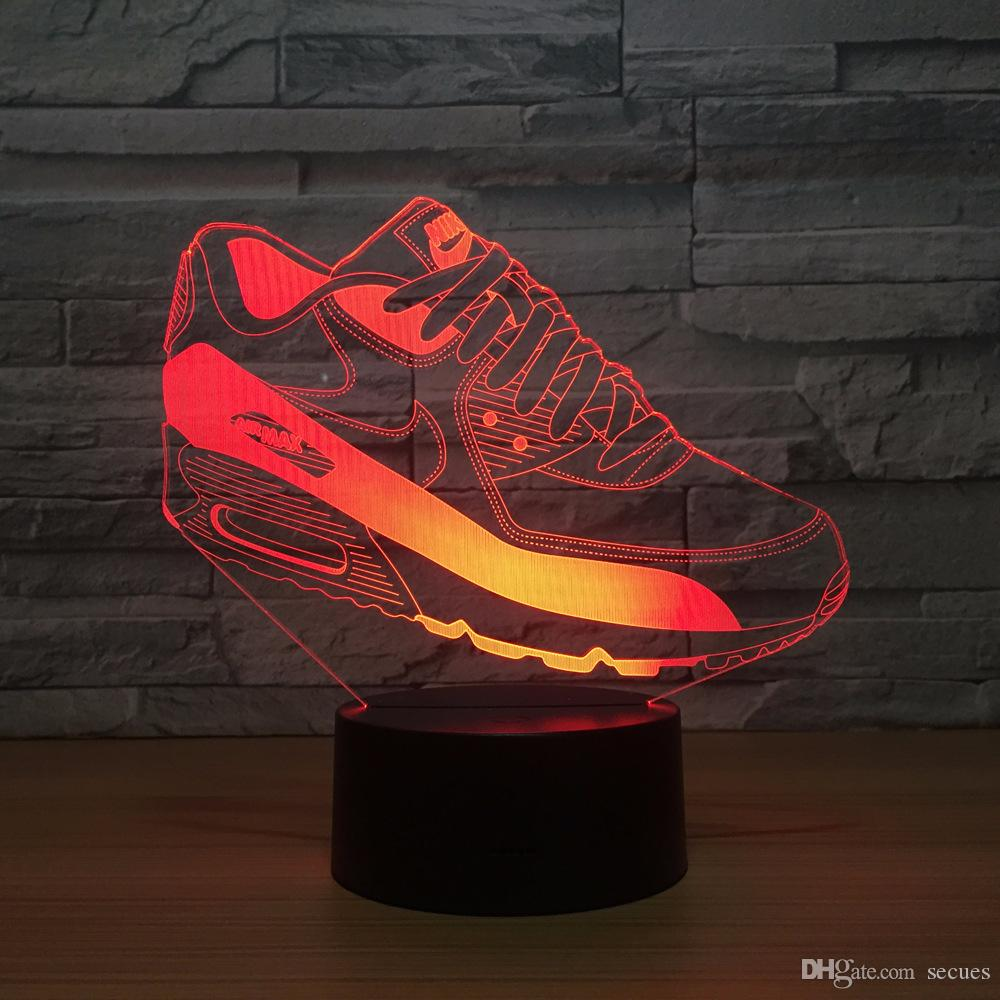 Sports Shoes 3D Optical Illusion Lamp Night Light DC 5V USB Powered AA Battery Wholesale Dropshipping Free Shippin
