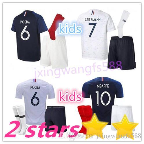 7d5bea58090 MBAPPE Soccer Jersey Kids Kits 2018 World Cup Fr Home Blue 18 19 ...