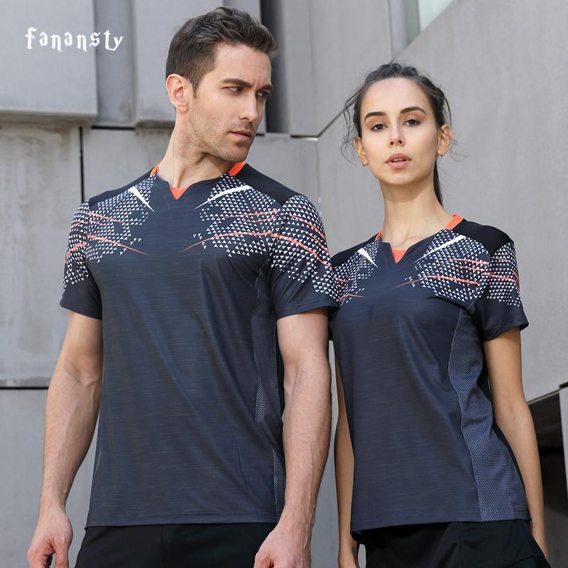 e16e88987423 2019 2018 Running Sport Summer Outdoor Quick Dry Gray Breathable Badminton Shirt  Women Men Table Tennis Team Game Custom T Shirts From Jingtianwat