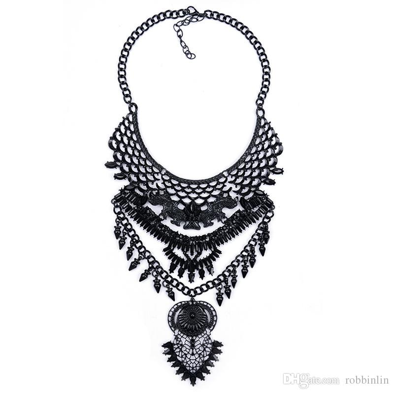 Fashion Bib Bohemian Statement Coin Necklace Punk Ethnic style Jewelry for Women Novelty Necklace