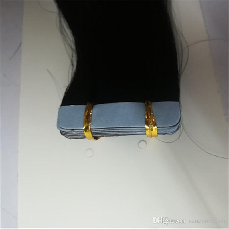 Elibess inferior grueso del pelo 200g Remy pegamento cinta de trama de la piel En el 100% cabello humano peruano Extensiones barato al por mayor Niza recto natural