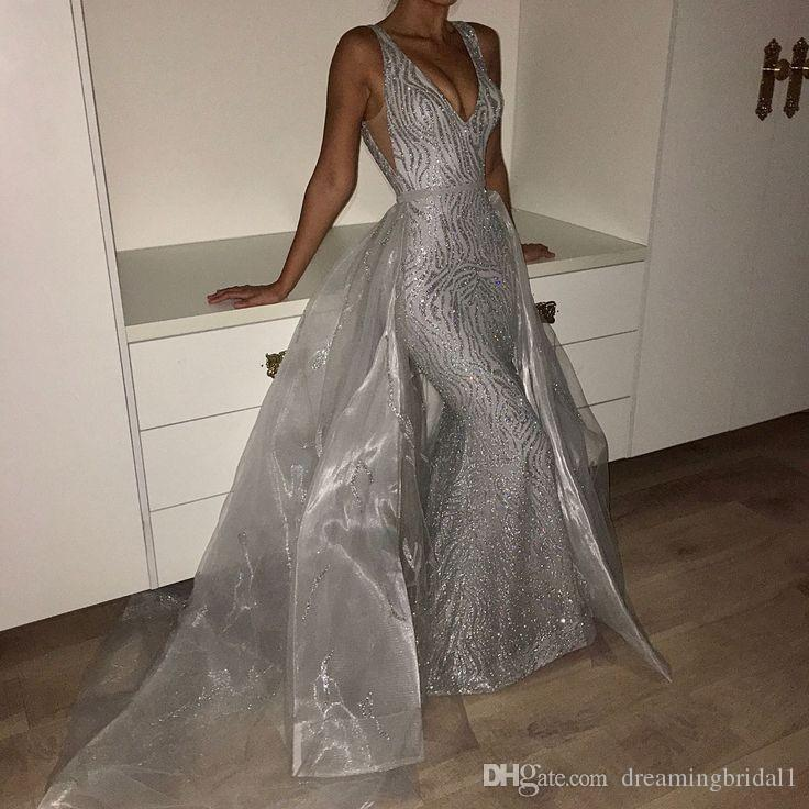 738f857ba66 Sexy Sliver Long Mermaid Prom Dresses 2018 New V Neck Floor Length  Detachable Sleeveless Sequined Formal Evening Dress Party Gowns Usa Prom  Dresses Very ...