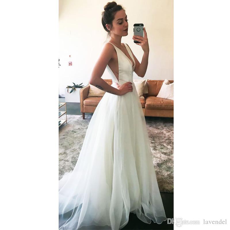 63b370edf474 Discount 2018 Sexy Deep V Neck A Line Wedding Dresses Spaghetti Straps  Sleeveless Satin Chiffon Court Train Bridal Gowns Vestido De Novia Simple  Vintage ...