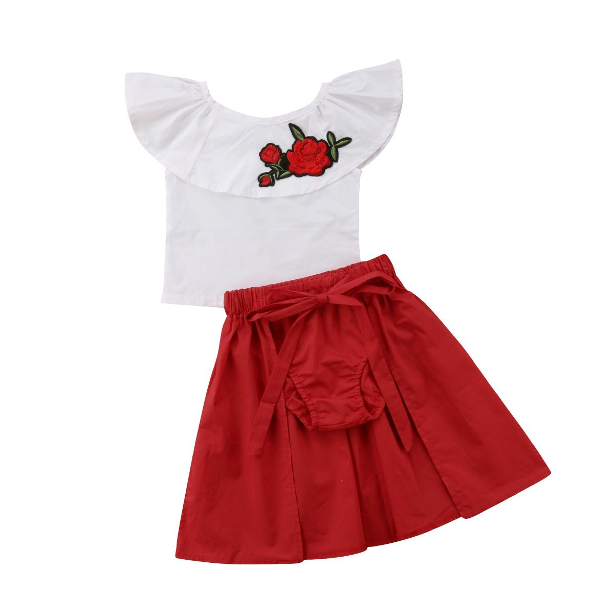 51ba38fd6bd0 Clothes Set Toddler Kid Baby Girl Summer Clothes Embroidery Floral ...