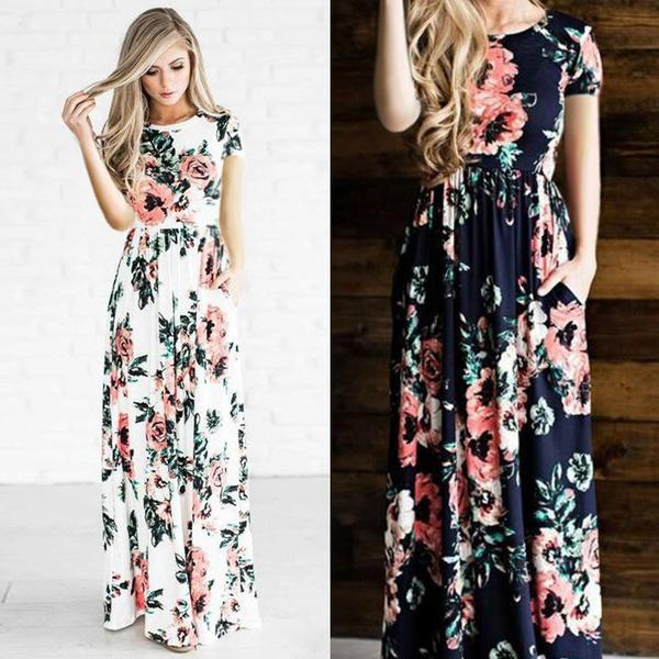 aaa677a0d191 2019 New Summer Dress Women Rose Print Dresses O Neck Tunic Long ...