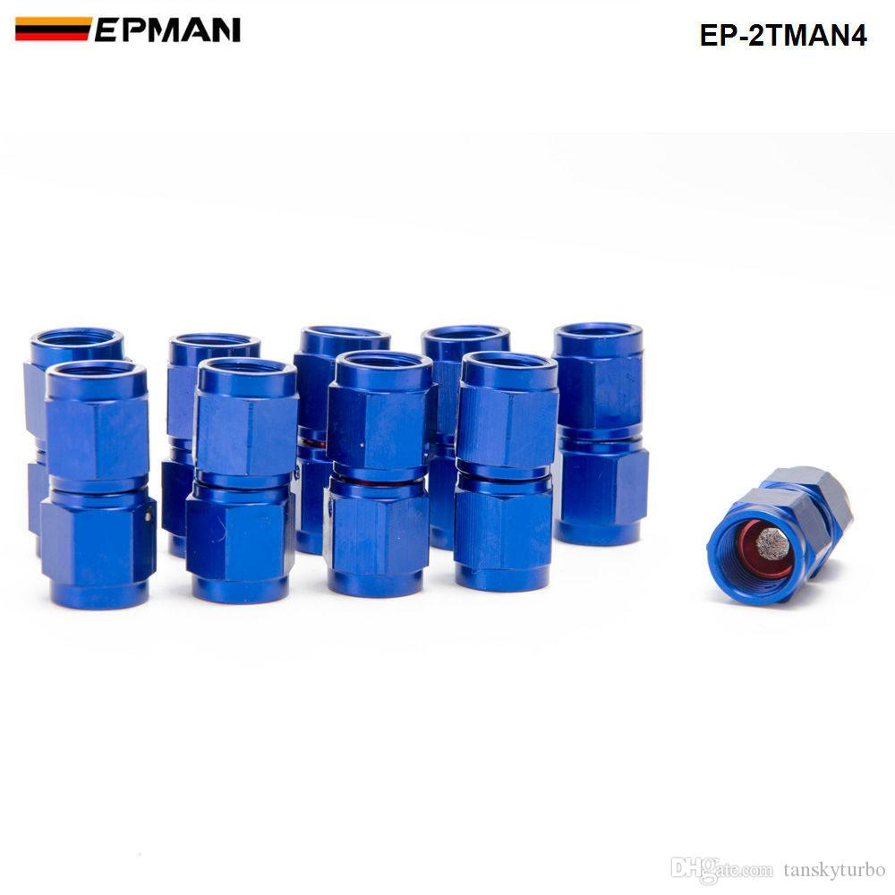EPMAN -Blue 2-Side Female Swivel Hose End Fuel/Fluid 4AN Fitting Adapter Universal EP-2TMAN4