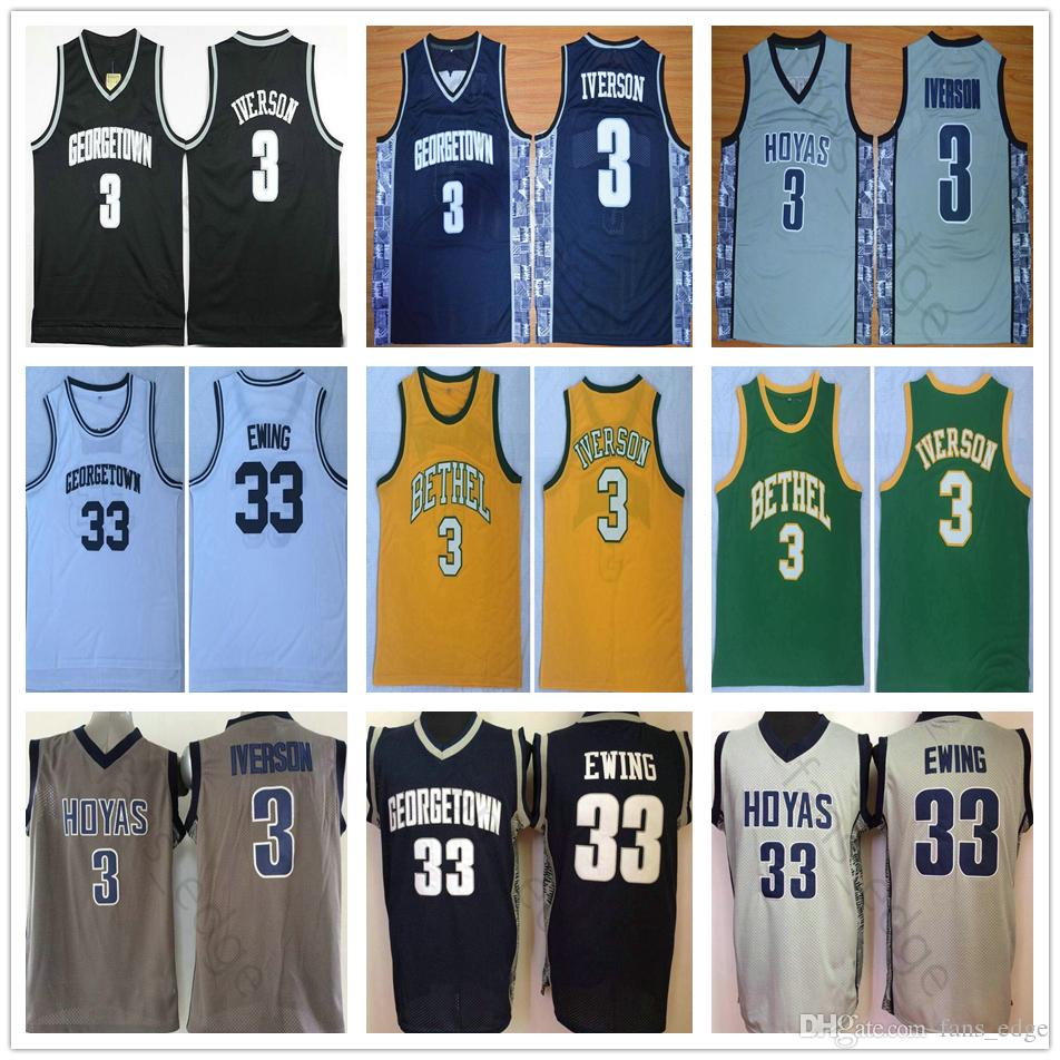 online store dacd5 eaa75 NCAA Georgetown Hoyas #3 Allen Iverson Jersey Bethel High School Mens  Vintage Stitched 33 Patrick Ewing College Basketball Jerseys Mix Order