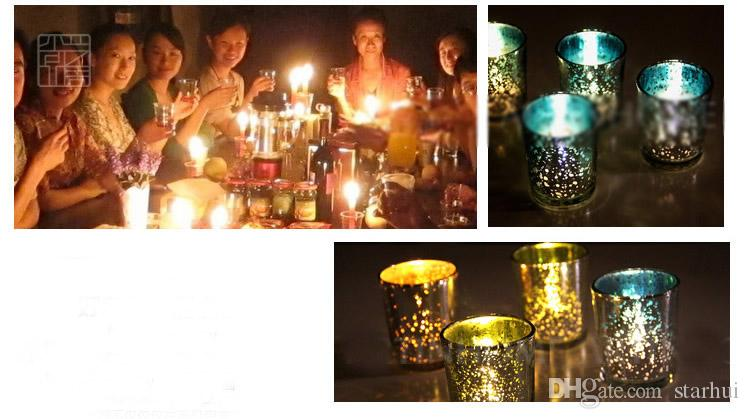 Small Glass Cup Candlestick Plated Silver Gold Green Candle Holder Party Wedding Birthday Bar Home Decoration NOT WITH CANDLE WX9-314