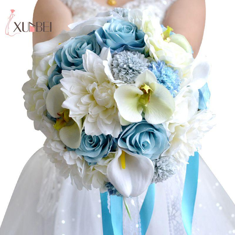 Grosshandel Blau Weiss Hademade Hochzeit Bouquet Country Style