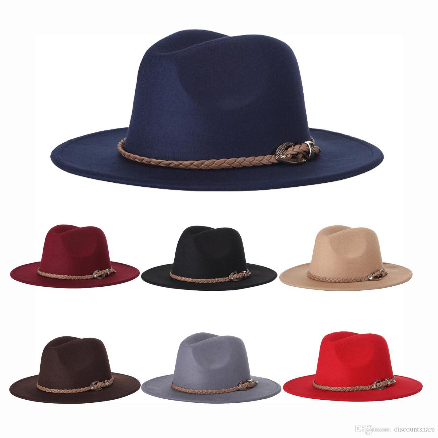 cf495b9509a0 Unisex otoño invierno trenza de paja ancho borde grande vaquero jazz  sombrero de fieltro