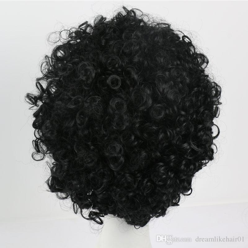 Short Synthetic Hair Black Wig Afro Kinky Curly Hair Wigs for Black Women Men African American Wigs Natural Style Full Head Wigs