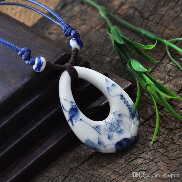 Seramik Kazak Zinciri Vintage Mavi Lotus Kolye Kolye Uzun Kolye Rüzgar Çin Moda Zanaat Moda Yüksek dereceli Giyim Kadın Takı