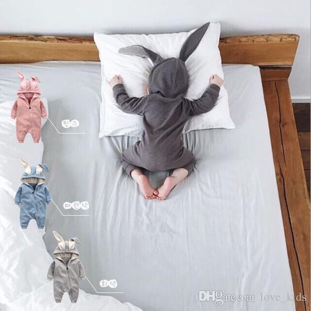 Neugeborene Jungen-Mädchen-Baby-Spielanzug Rabbit Ears Neugeborene Onesies Kleidung Zipper mit Kapuze Kleinkind-Strampler Infant Bodysuit Boutique Jumpsuits Kleidung