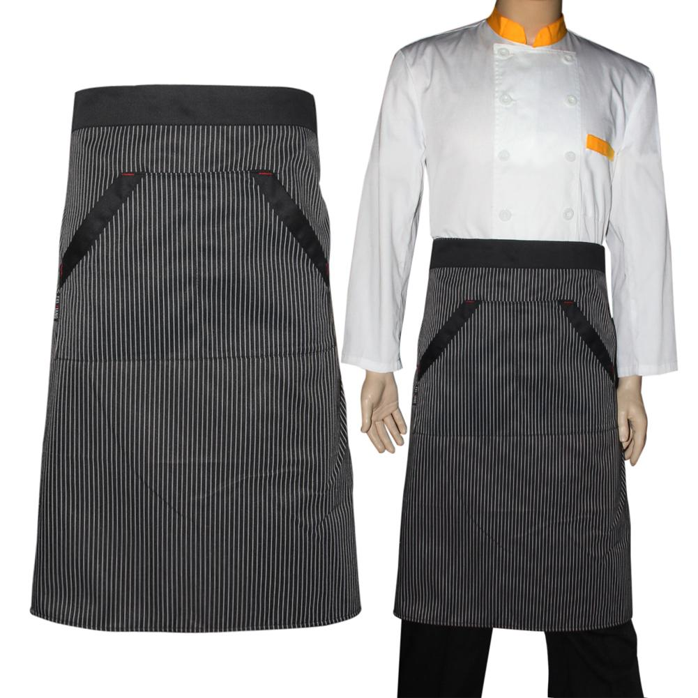 kitchen aprons women men waiter stripe apron hotel chef uniforms waist short bib with double pockets cooking tools half apron waist apron from adeir - Kitchen Apron