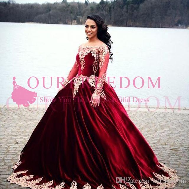 209a0d3f893 2018 Burgundy Ball Gown Quinceanera Dresses Bateau Neck Long Sleeve Elastic  Satin Gold Appliques Sweet 16 18 Formal Evening Dresses Custom Beautiful ...