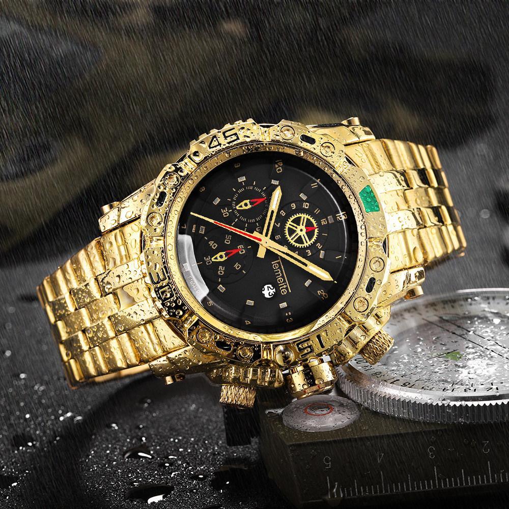 Купить Оптом <b>TEMEITE</b> Creative Golden <b>Men</b> Quartz Wristwatches ...