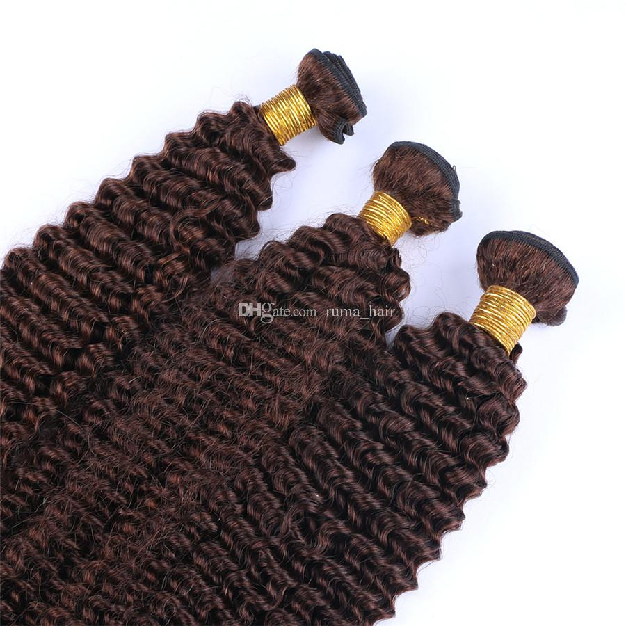 Human Hair Brown Bundles Color #4 Chestnut Brown Kinky Curly Hair Extensions 3Bundles Peruvian Virgin Remy Hair Extensions Fast Shipping